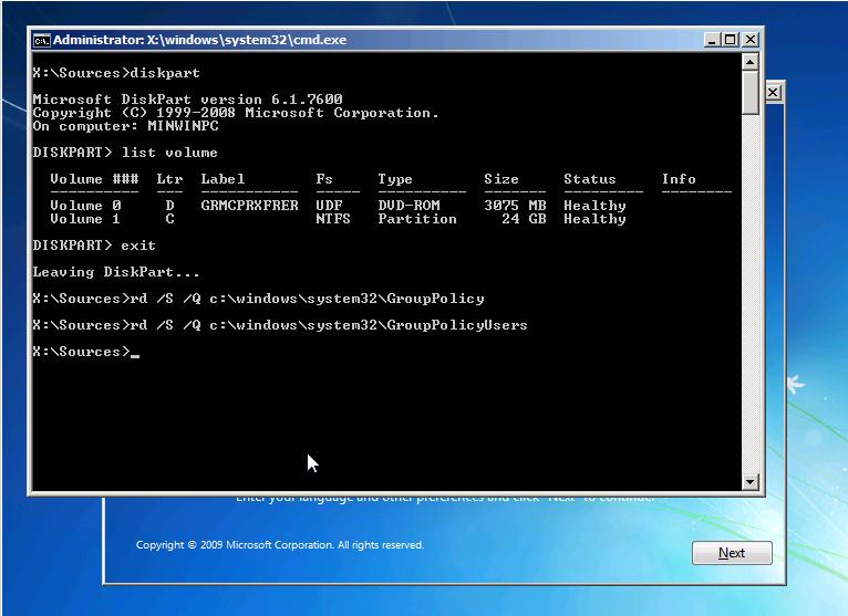 Reset Windows 7 GPO Settings. Boot from CD