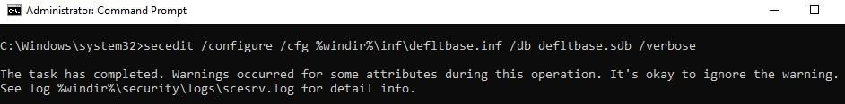 secedit reset security settings in defltbase.sdb