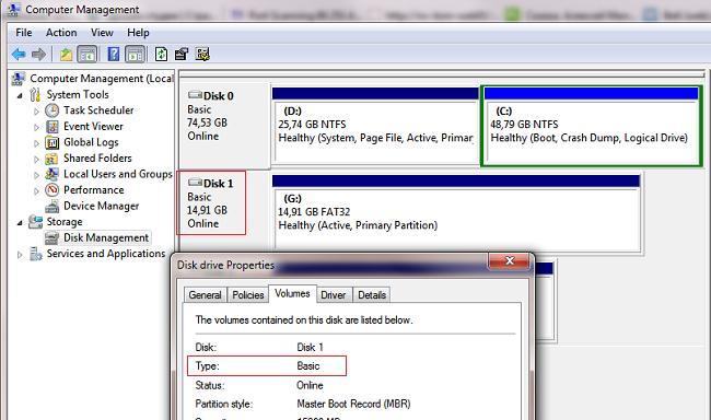 lecteur flash USB comme disque de base