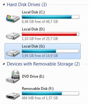 usb flash as local disk in windows