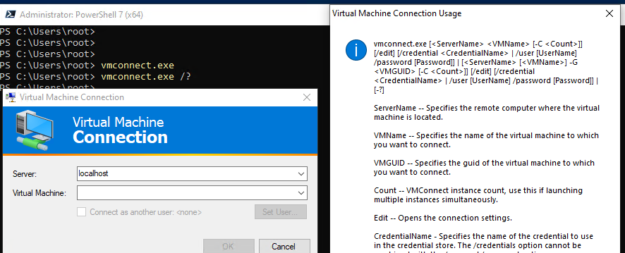 vmconnect.exe - connecting hyper-v virtual machine console