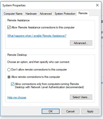 windows 10 disable nla