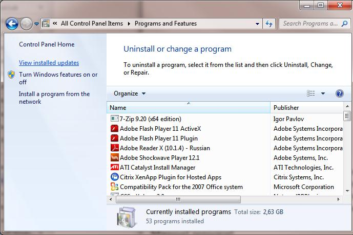 Uninstall Windows updates from Control Panel