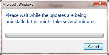 Please wait while updates are uninstalled