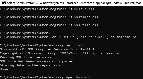 bat script to repair or rebuild the WMI Repository on Windows 10
