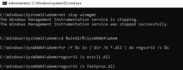batch script to perform soft reset of the wmi service on windows 10