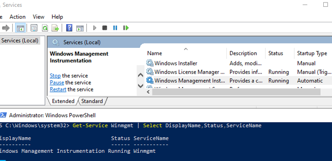 check that the Winmgmt service (Windows Management Instrumentation) is running