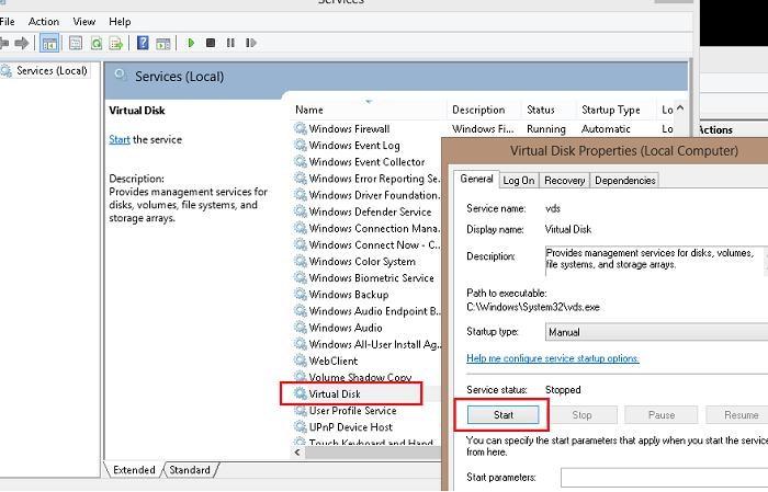 start virtual disk service