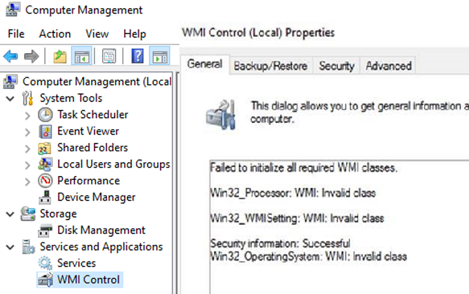 wmi error: Failed to initialize all required WMI classes Invalid namespace