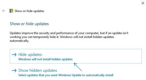 wushowhide.diagcab hide updates in windows