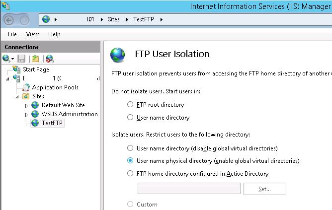 FTP User Isolation on Windows Server 2012 R2