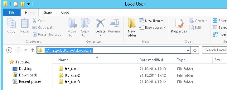 ftp users home folders
