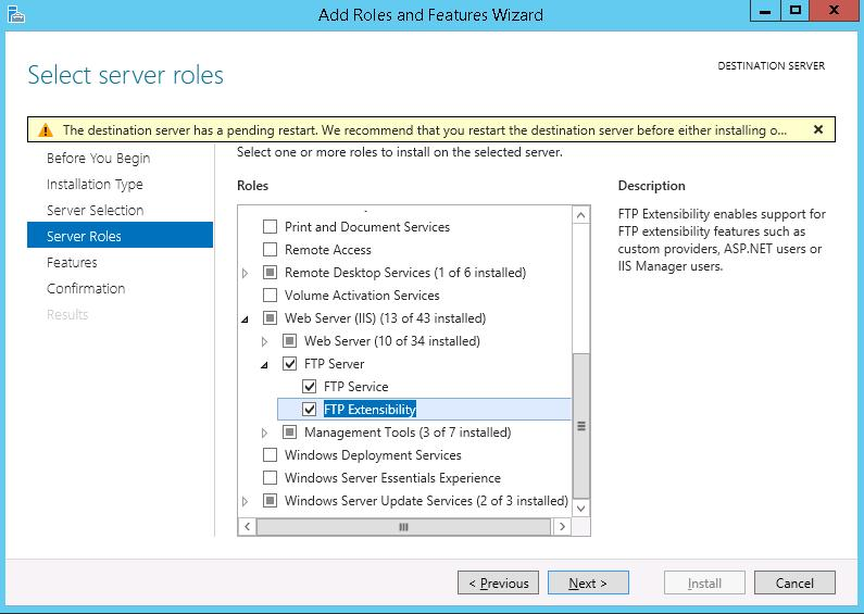Install ftp server on Windows Server 2012 r2