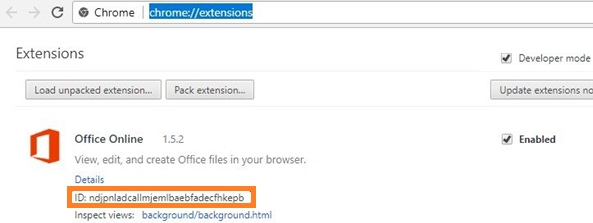 chrome get extension id