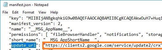 chrome file manifest.json with extension update_url
