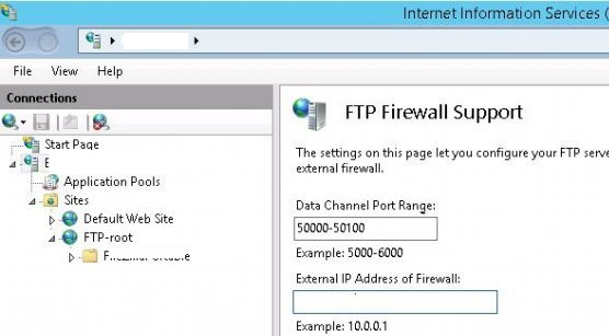 ftp firewall support - set port range on WIndows FTP Server