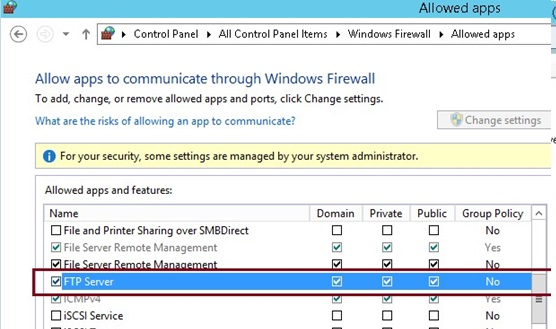 ftp server windows server 2012 r2: firewall rules