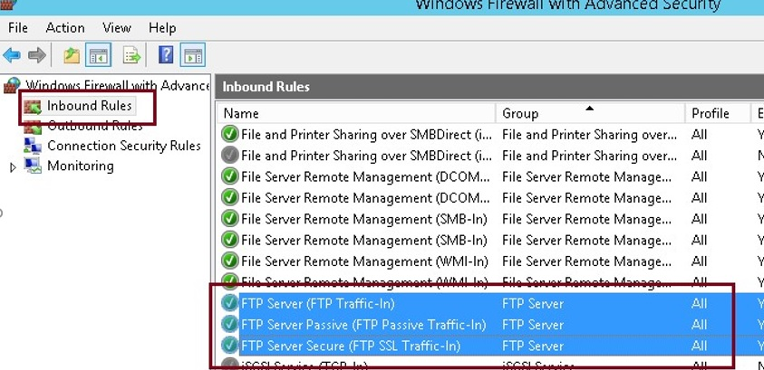 windows firewall inbound ftp rules