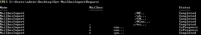 Get-MailboxImportRequest in Exchange Server 2013