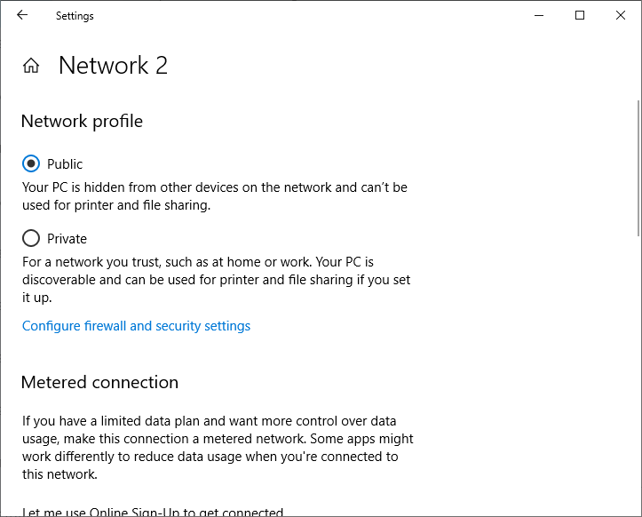 network profile change from public to private in windows 10 settings