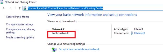 public network in windows 10 control panel