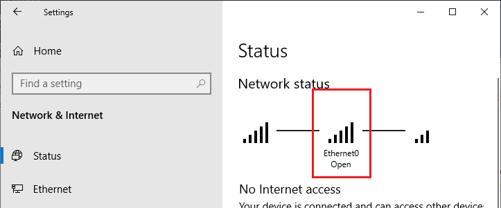 win 10 - network status open for ethernet0 NIC