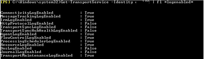 Get-TransportService exchange view transaction log paths