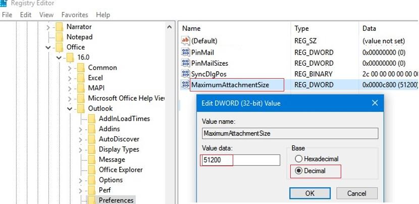 MaximumAttachmentSize Outlook registry parameter