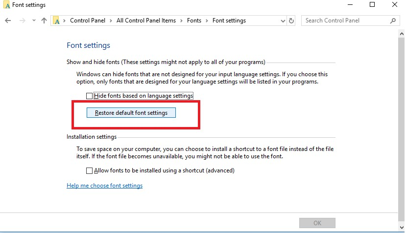 Restore default font settings button in Windows 10