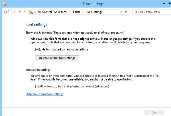 Restore default font settings windows 8
