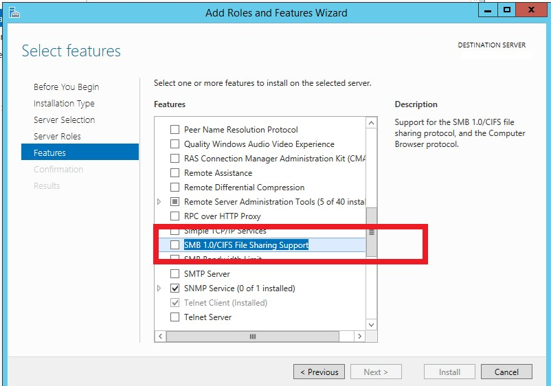 SMB 1 0 Support in Windows Server 2012 R2 / Windows Server