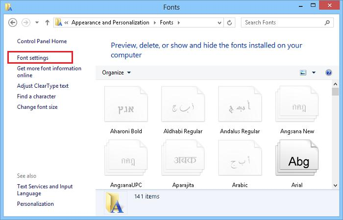 Font Settings Windows 8