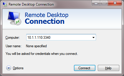RDP client connect to different port