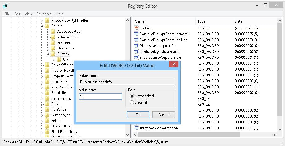 DisplayLastLogonInfo policy through registry
