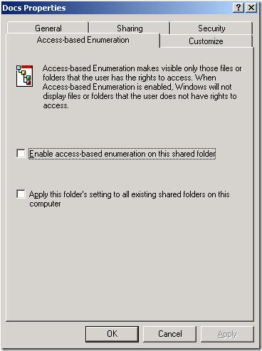 Enable access-based enumeration on this shared folder Windows Server 2003