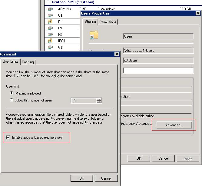 Enable access based enumeration on Windows Server 2008 share