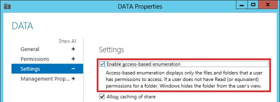 Windows Server 2012 - Enable access-based enumeration