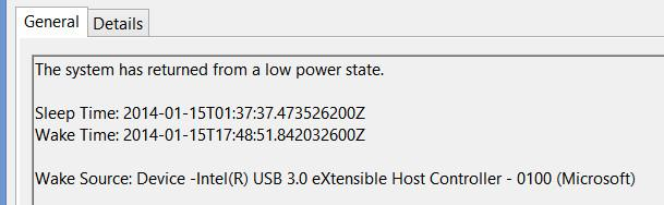 Power-Troubleshooter event in Windpws system log