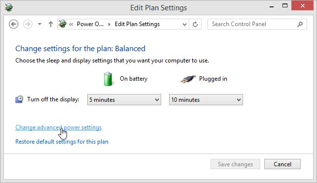 Change advanced power settings  Windows 8