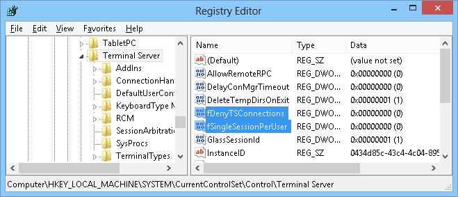 fDenyTSConnections - Enable RDP connections Windows 8