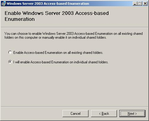 Install Access based Enumeration on Windows-Server 2003 SP1
