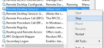 Stop Remote Desktop Services