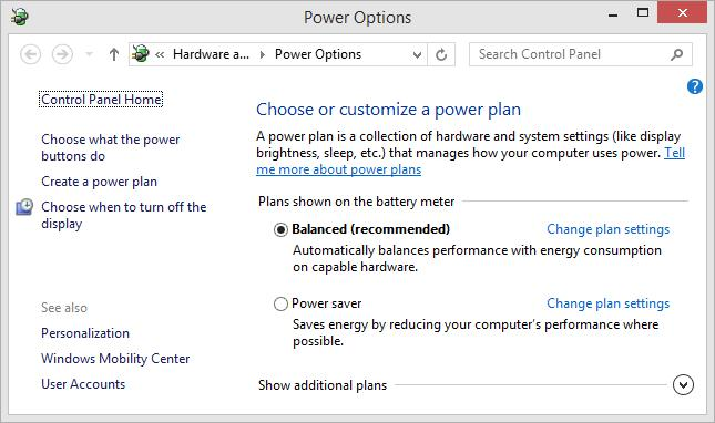 Windows 8 power plan