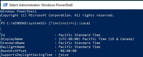 Get-TimeZone using powershell