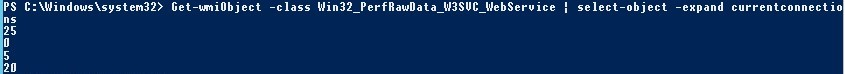 Get-wmiObject Win32_PerfRawData_W3SVC_WebService currentconnections