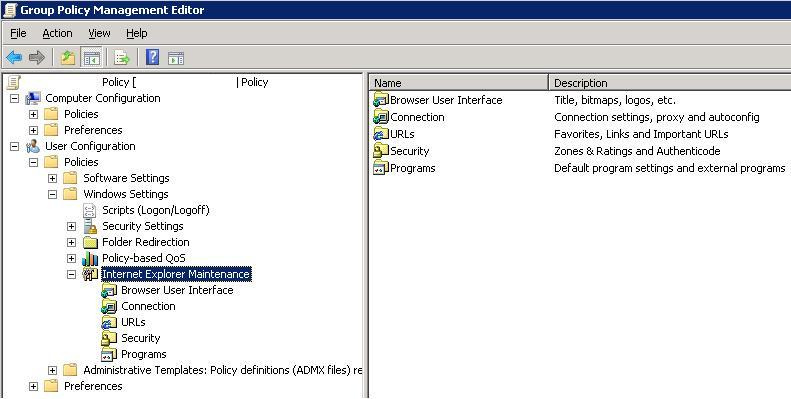 Internet Explorer Maintenance section in GPO Editor