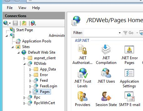 IIS->Sites->DefaultWeSite-> RDWEB ->Pages