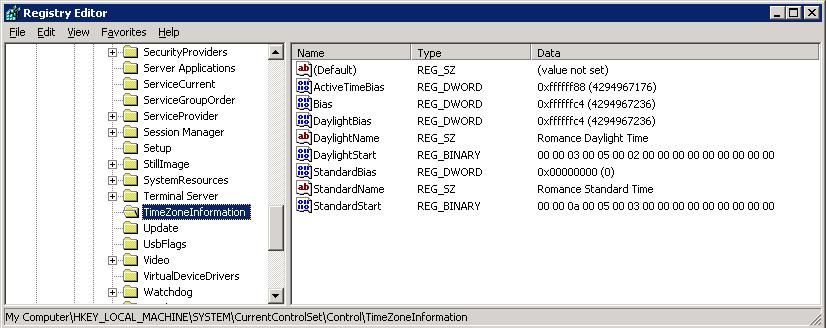 HKEY_LOCAL_MACHINE\SYSTEM\CurrentControlSet\Control\TimeZoneInformation