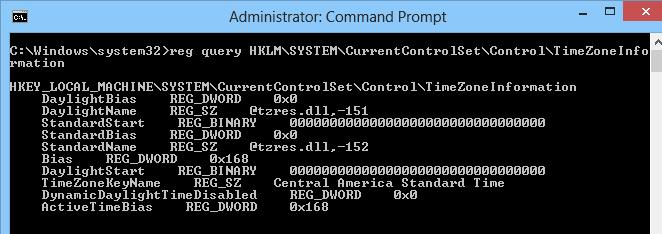 check timezone command prompt