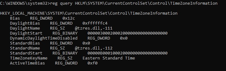 check current timezone via registry